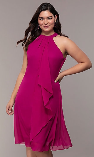 Wedding Guest Plus-Size Short Cocktail Party Dress