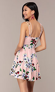 Image of short strappy floral-print graduation party dress. Style: DC-D47329 Back Image