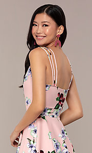 Image of short strappy floral-print graduation party dress. Style: DC-D47329 Detail Image 7