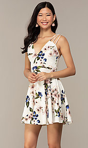 Image of short strappy floral-print graduation party dress. Style: DC-D47329 Detail Image 4