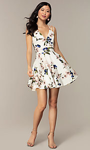 Image of short strappy floral-print graduation party dress. Style: DC-D47329 Detail Image 3