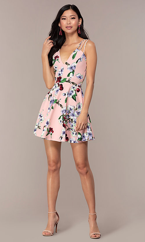 Image of short strappy floral-print graduation party dress. Style: DC-D47329 Detail Image 8