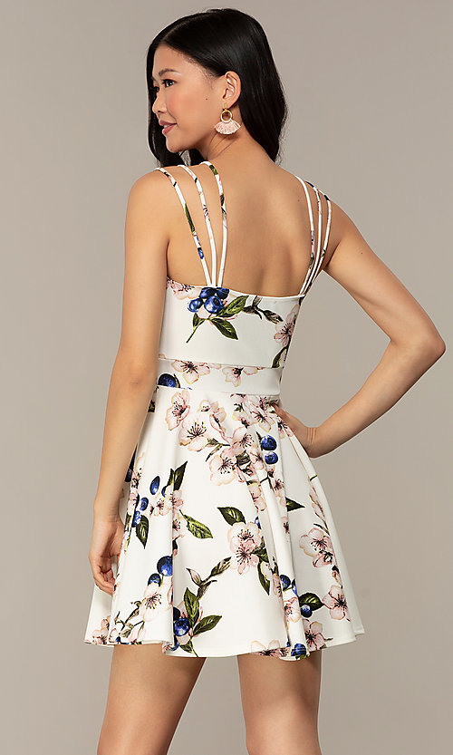 Image of short strappy floral-print graduation party dress. Style: DC-D47329 Detail Image 5