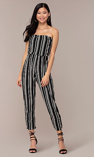 Strapless Long Party Jumpsuit with Stripes