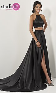 Image of two-piece halter-top long formal dress with train. Style: ST-12705 Detail Image 3