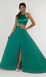 Image of two-piece halter-top long formal dress with train. Style: ST-12705 Front Image