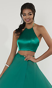 Image of two-piece halter-top long formal dress with train. Style: ST-12705 Detail Image 1