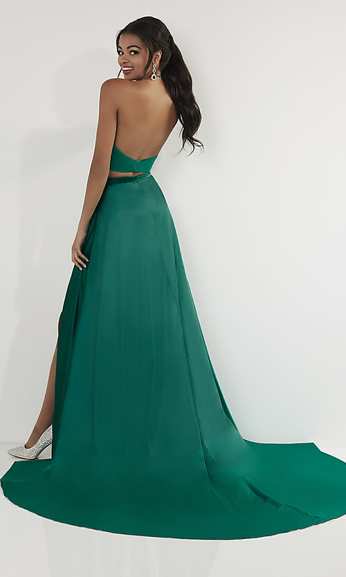 Image of two-piece halter-top long formal dress with train. Style: ST-12705 Back Image