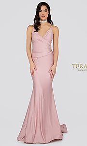 Image of long open-back fitted satin formal gown by Terani. Style: TI-1912P8280 Back Image