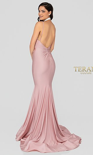 Long V-Neck Open-Back Fitted Satin Formal Gown