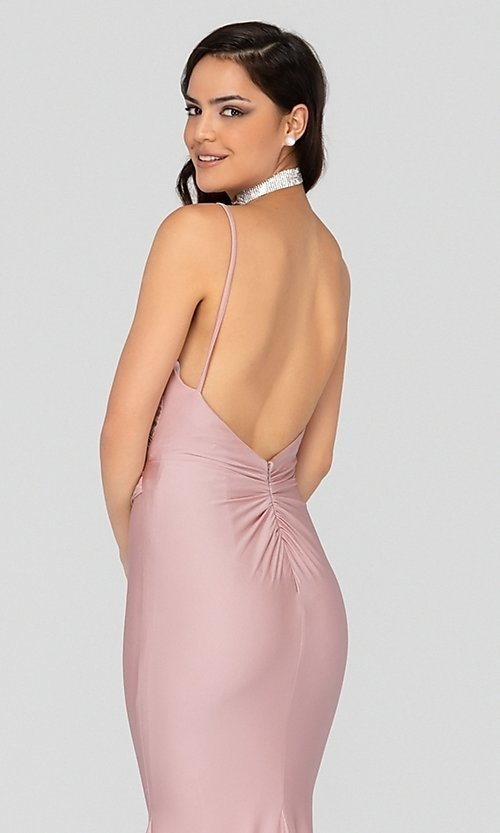 Image of long open-back fitted satin formal gown by Terani. Style: TI-1912P8280 Detail Image 2