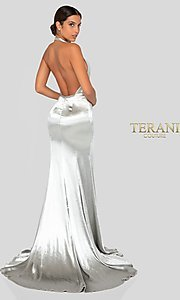 Image of long faux-wrap silver satin formal gown by Terani. Style: TI-1912P8250 Back Image