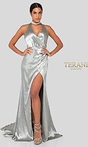 Image of long faux-wrap silver satin formal gown by Terani. Style: TI-1912P8250 Front Image