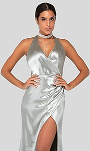 Image of long faux-wrap silver satin formal gown by Terani. Style: TI-1912P8250 Detail Image 1