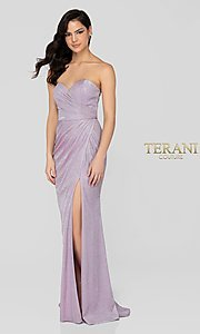 Image of lilac silver glitter Terani formal gown with slit. Style: TI-1911P8173 Front Image