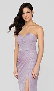 Image of lilac silver glitter Terani formal gown with slit. Style: TI-1911P8173 Detail Image 1