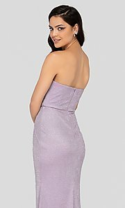 Image of lilac silver glitter Terani formal gown with slit. Style: TI-1911P8173 Detail Image 2