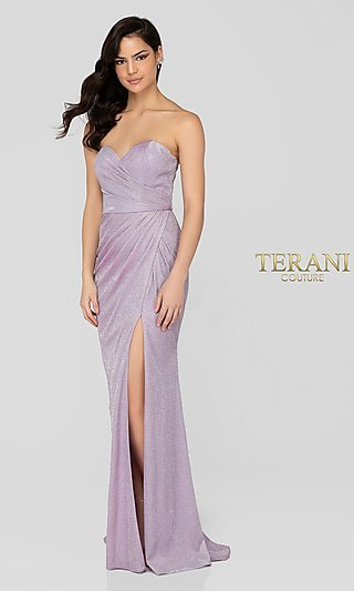 Lilac Silver Glitter Terani Formal Gown with Slit