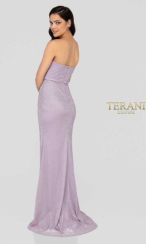 Image of lilac silver glitter Terani formal gown with slit. Style: TI-1911P8173 Back Image
