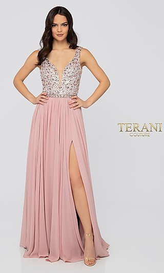 Terani Beaded-Bodice Long Formal Dress in Blush