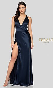 Image of navy blue open-back classic formal gown by Terani. Style: TI-1912P8278 Front Image