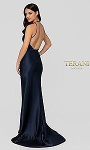 Image of navy blue open-back classic formal gown by Terani. Style: TI-1912P8278 Back Image