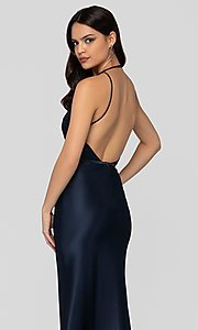 Image of navy blue open-back classic formal gown by Terani. Style: TI-1912P8278 Detail Image 2