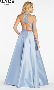 Image of embroidered-bodice long prom dress with racerback. Style: AL-60331 Back Image