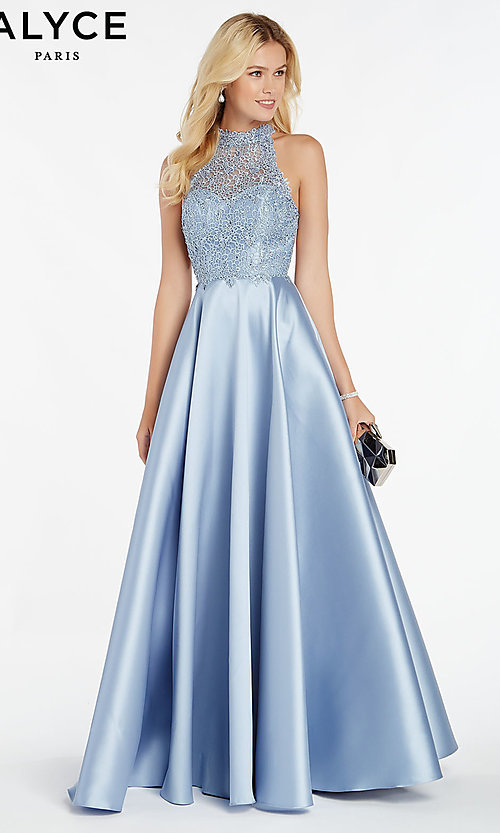Image of embroidered-bodice long prom dress with racerback. Style: AL-60331 Front Image