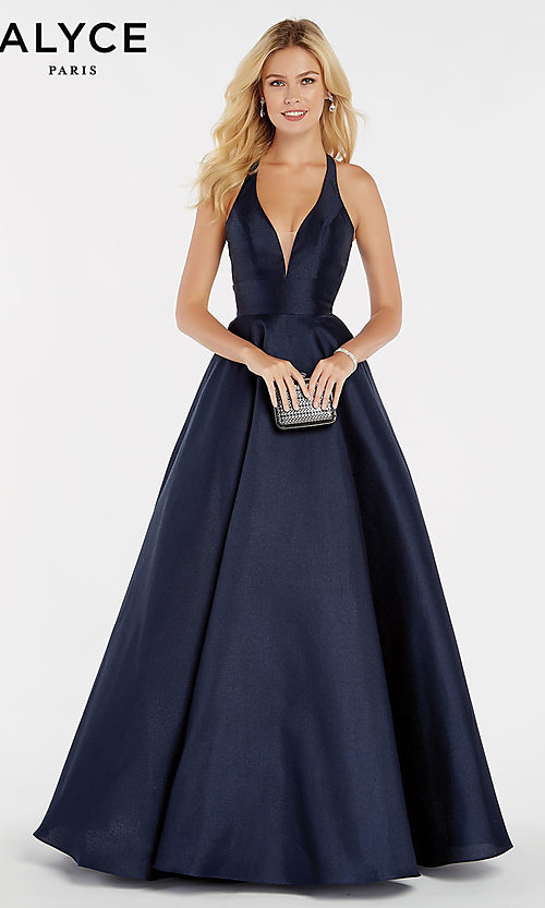 Image of long deep-v-neck a-line Alyce formal evening gown. Style: AL-60393 Front Image