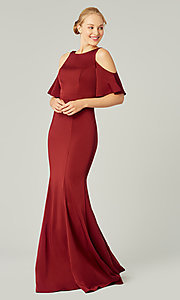 Image of flutter-sleeve long bridesmaid dress. Style: KL-200145 Front Image