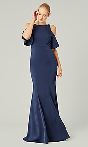 Image of flutter-sleeve long bridesmaid dress by Kleinfeld. Style: KL-200145 Detail Image 2