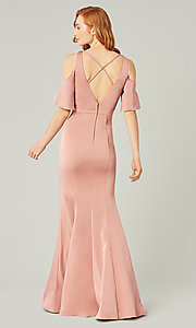 Image of flutter-sleeve long bridesmaid dress by Kleinfeld. Style: KL-200145 Back Image