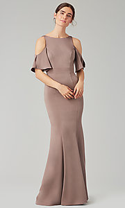 Image of flutter-sleeve long bridesmaid dress by Kleinfeld. Style: KL-200145 Detail Image 8