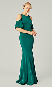 Image of flutter-sleeve long bridesmaid dress by Kleinfeld. Style: KL-200145 Detail Image 3
