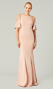 Image of flutter-sleeve long bridesmaid dress by Kleinfeld. Style: KL-200145 Detail Image 5