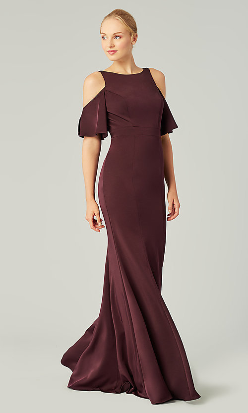 Image of flutter-sleeve long bridesmaid dress by Kleinfeld. Style: KL-200145 Detail Image 6