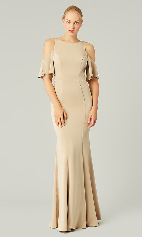 Image of flutter-sleeve long bridesmaid dress by Kleinfeld. Style: KL-200145 Detail Image 7