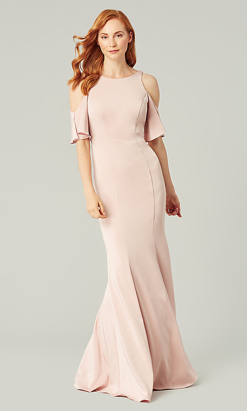 Image of flutter-sleeve long bridesmaid dress by Kleinfeld. Style: KL-200145 Detail Image 4