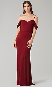 Image of cowl-back bridesmaid dress in stretch chiffon. Style: KL-200156 Detail Image 8