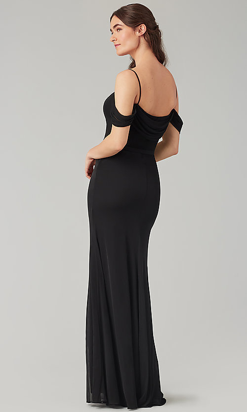 Image of cowl-back bridesmaid dress in stretch chiffon. Style: KL-200156 Back Image