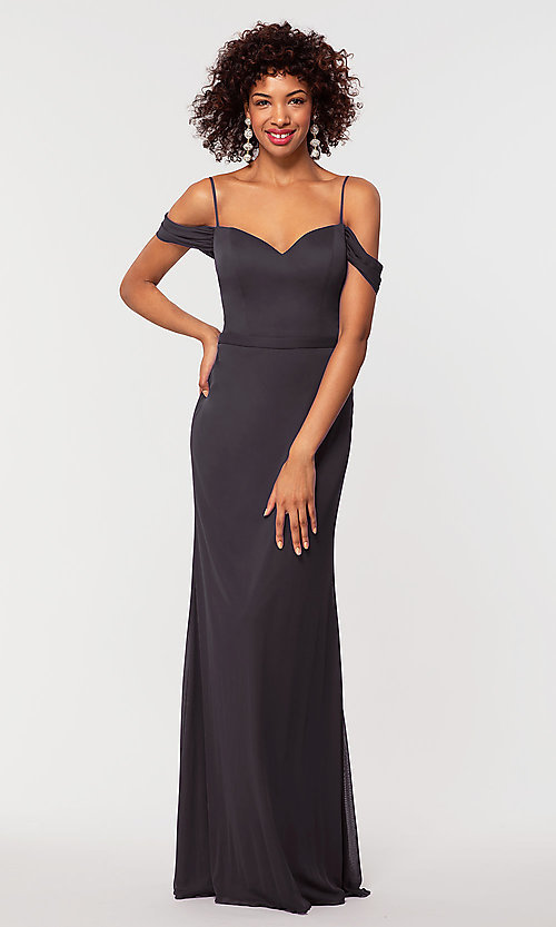 Image of cowl-back bridesmaid dress in stretch chiffon. Style: KL-200156 Detail Image 7