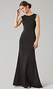 Image of stretch satin long fitted bridesmaid dress. Style: KL-200148 Detail Image 3