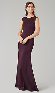 Image of stretch satin long fitted bridesmaid dress. Style: KL-200148 Detail Image 5