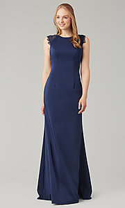 Image of stretch satin long fitted bridesmaid dress. Style: KL-200148 Detail Image 6