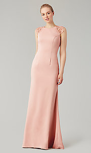 Image of stretch satin long fitted bridesmaid dress. Style: KL-200148 Detail Image 4