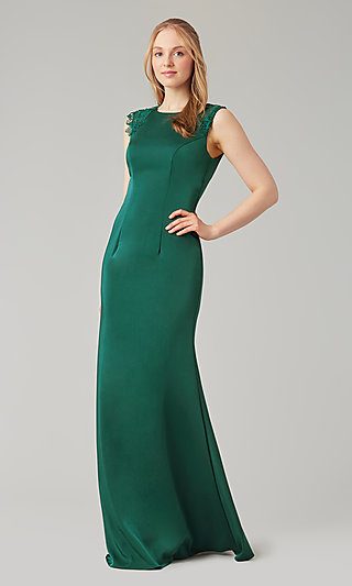 Stretch Satin Long Fitted Bridesmaid Dress