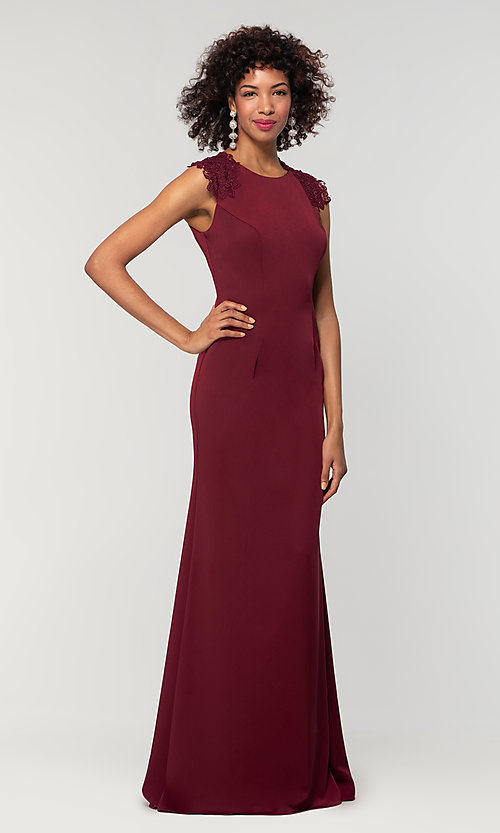 Image of stretch satin long fitted bridesmaid dress. Style: KL-200148 Detail Image 1