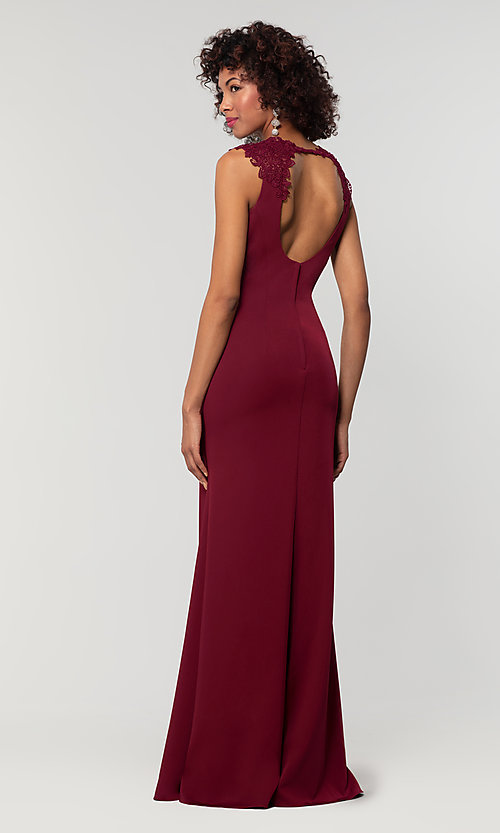 Image of stretch satin long fitted bridesmaid dress. Style: KL-200148 Detail Image 2