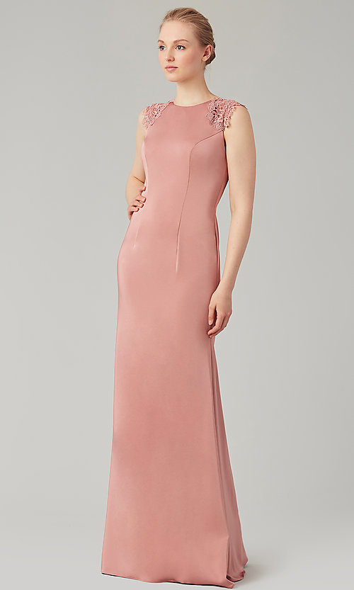 Image of stretch satin long fitted bridesmaid dress. Style: KL-200148 Front Image